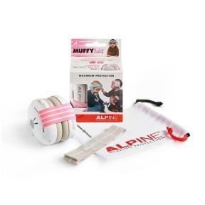 apsauginės ausinės vaikams - Alpine ALP-MUF/BBP -  Muffy Baby earmuff white with pink head strap