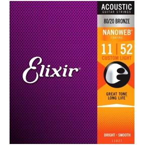 Elixir 11027 Acoustic 80/20 Bronze With Nanoweb Coating .011 - .052 Custom Light