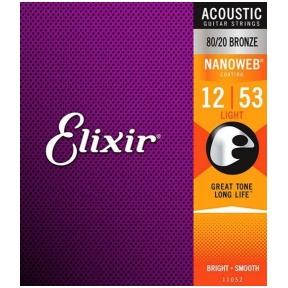 Elixir 11052 Acoustic 80/20 Bronze With Nanoweb Coating .012 - .053 Light