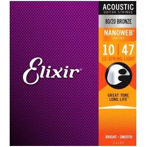 Elixir 11152 Acoustic 80/20 Bronze 12-String With Nanoweb Coating .010 - .047 Light