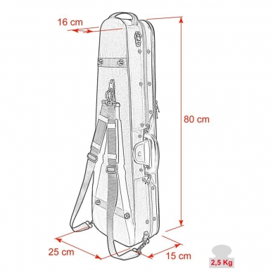Leonardo VC-1444-UU Student Series Wooden Violin Case 4/4 3