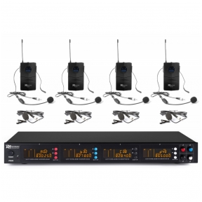 Power Dynamics PD504B 4x 50-Channel UHF Wireless Microphone Set with 4 bodypack microphones 179.006